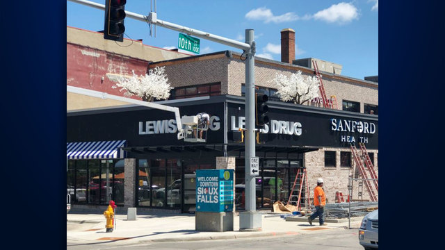 Signs Go Up At Downtown Lewis Drug, Sanford Health Clinic